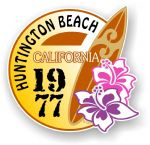 Huntington Beach 1977 Surfer Surfing Design Vinyl Car sticker decal  95x98mm